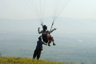take off from paragliding site in kamshet